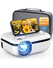 """MOOKA WiFi Projector, 7500L HD Outdoor Mini Projector with Carrying Bag, 1080P & 200"""" Screen Supported, Movie Home Theater for TV Stick, Video Games, HDMI, USB, AUX, AV, PS4, Laptop, iOS & Android"""