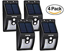 [Solnergy] 10 LED Bright Solar Sensor Light, Outdoor Motion Lighting, Big Power Button, Security Motion Sensor Lamp Light, Auto On/Off, Patio, Yard, Garden, Driveway, Stairs, Pool Area (4 in Pack)