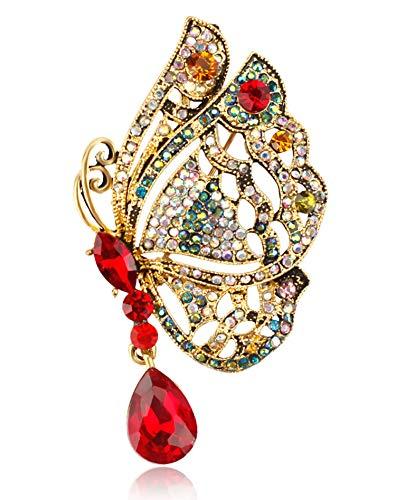 (Gyn&Joy Red and Aurora Borealis Crystal Rhinestone Golden Tone Pendant Butterfly Brooch Pin BZ224)