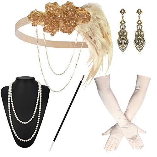 1920s Great Gatsby Accessories Set for Women,Costume Flapper Headpiece Headband (Medium, M40)