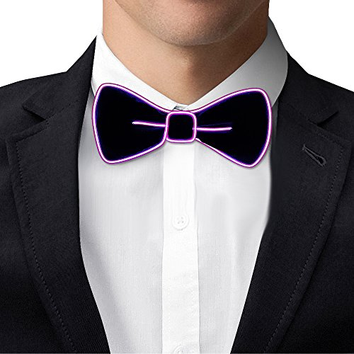 Light Up BowTie Costume Accessory LED Bow Tie Perfect for Halloween Party Christmas New Years Rave Party (Purple)