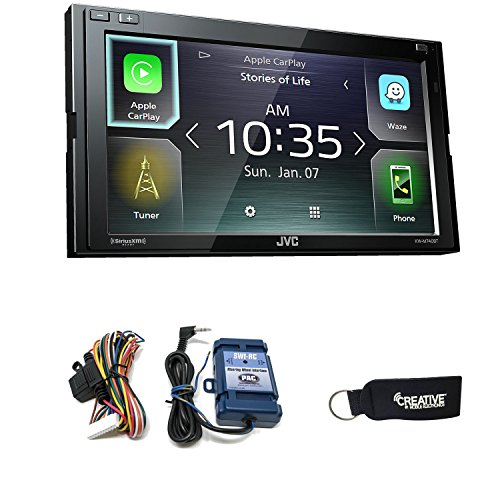JVC KW-M740BT Compatible with CarPlay, Android Auto 2-DIN AV Receiver (No CD Drive) with Steering Wheel ()