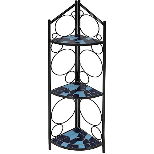 - Sunnydaze 3-Tier Folding Mosaic Plant Stand, Indoor/Outdoor Metal Corner Flower Pot Shelf, 44 Inch Tall, Blue