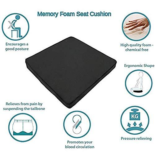 Big Hippo Seat Cushion Back, Sciatica Tailbone Pain Relief-Memory Foam Chair Seat Cushion Pad Wheelchair, Office & Car by Big Hippo (Image #3)