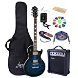 Full Size Electric Guitar with Amp, Case and Accessories Pack (Blue Burst)