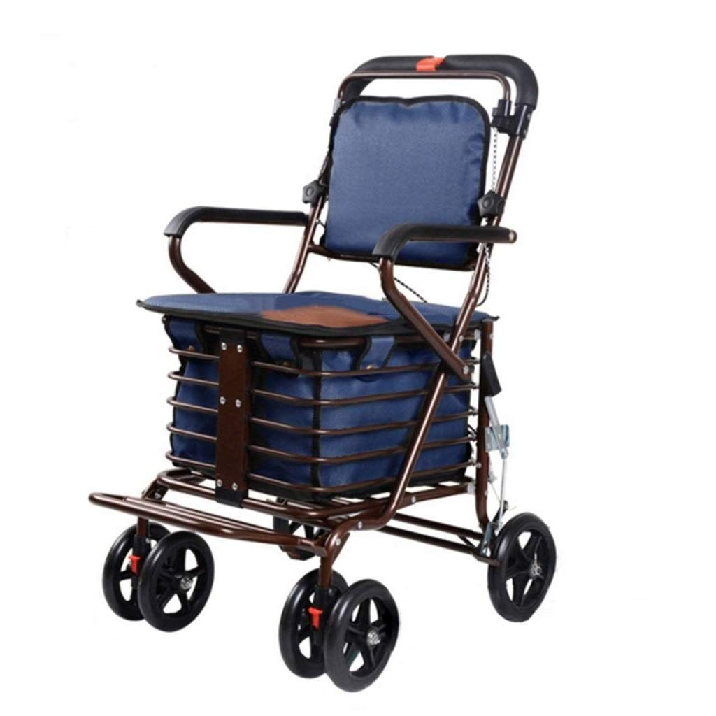 Rollator Walker Petite,with Fold Up Removable Back Support with Seat and Lower Basket Lockable Brake Auxiliary Walking Safety Walker (Color : Blue)