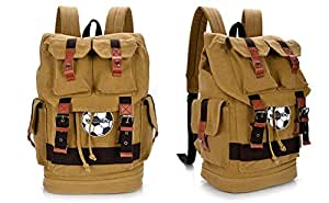 Men and Women Casual Canvas Backpack World Cup Commemorative Football Pattern Shoulders Bag (Khaki)