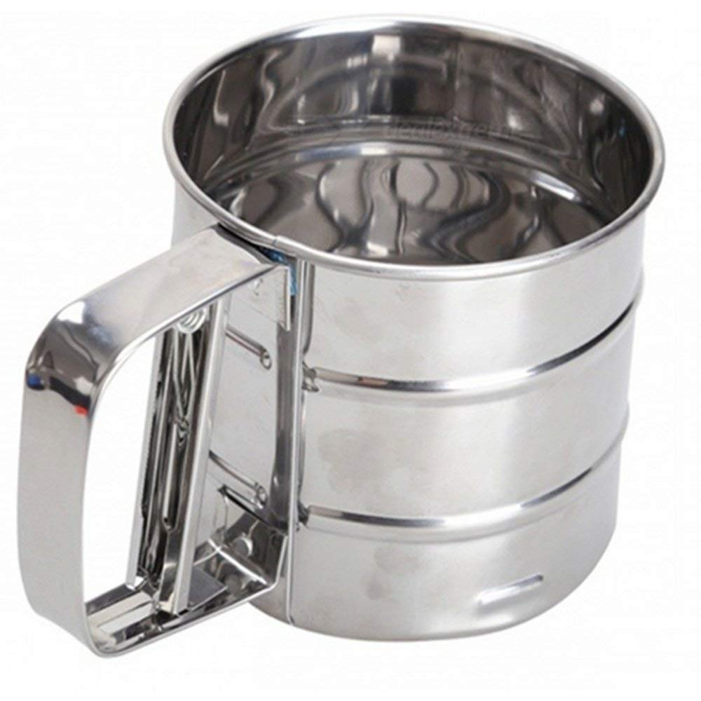 Baking Stainless Steel Shaker Sieve Cup Mesh Crank Flour Sifter with Measuring Scale Mark for Flour Icing Sugar Powder Sieve