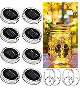 Bethlehem Lighting Solar Mason jar Light, 8 Pack 30Led Waterproof Fairy Firefly jar lid Lights, I...