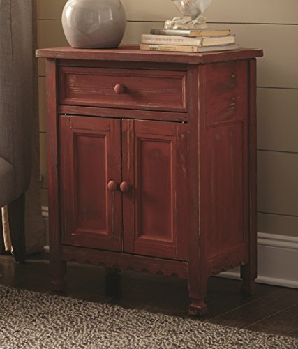 Rustic Cottage Accent Cabinet with 1 Drawer and 2 Doors, Red Antique
