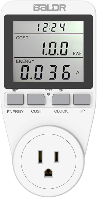 BALDR U.S. Electricity Usage Meter for the Home | Counts Kilowatts Per Hour - Plugs into Appliances, Measure Your Energy Usage and Cut Down on Costs - Easy to Read Display