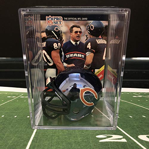 go Bears Throwback NFL Helmet Shadowbox w/Mike Ditka card ()