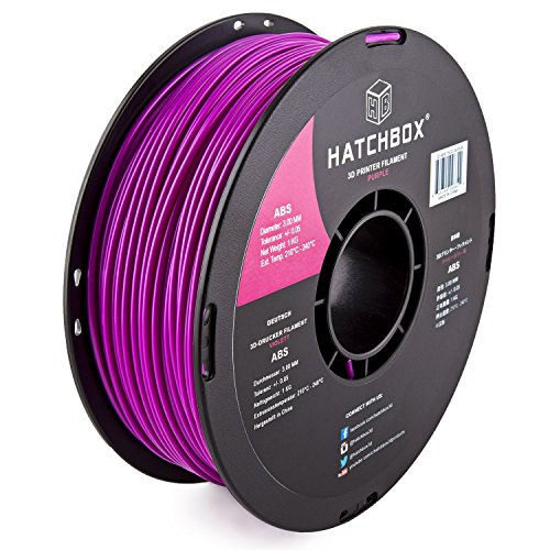HATCHBOX 3D ABS-1KG3.00-PUR ABS 3D Printer Filament, Dimensional Accuracy +/- 0.05 mm, 1 kg Spool, 3.00 mm, Purple HATCHBOX Supplies