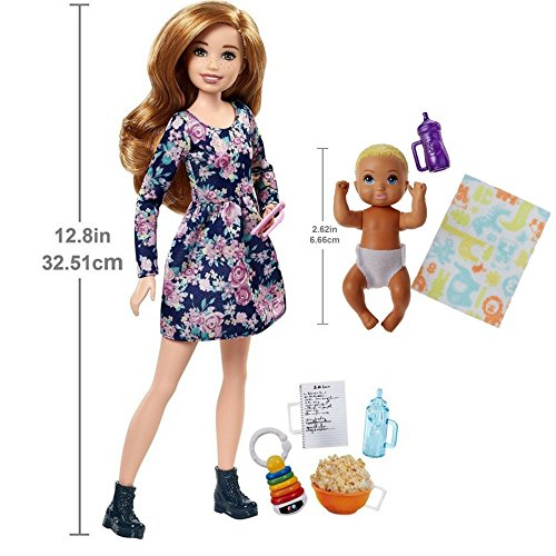 Barbie Skipper Babysitters INC Popcorn Set Doll & Barbie Babysitters Inc. Baby in Diaper (Blonde Hair) Playset comes with Unique Babysitting Certificate for Imaginative Play Great Gift for Girl