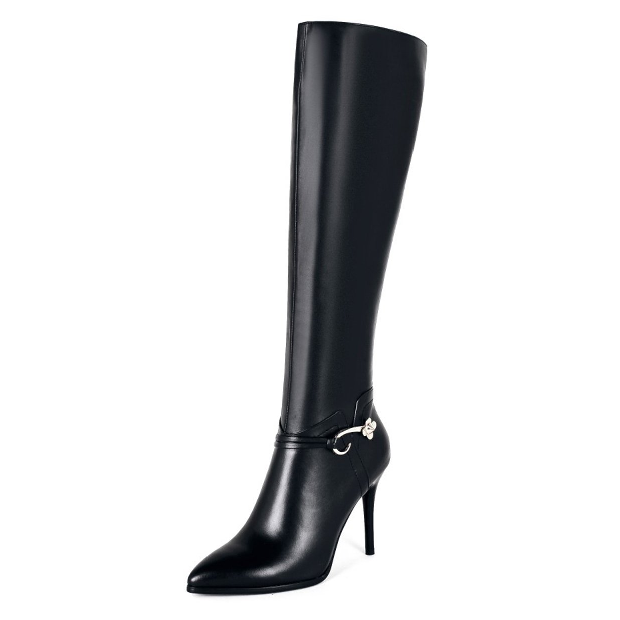 VOCOSI Women's Classic Side-Zip High Heels Leather Riding Boots Pointy Toe Knee-High Dress Boot B075QCS132 10 M US|Black With Metal Buckle