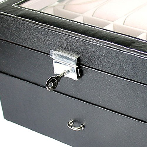 Generic YanHong-US3-160128-49 8yh2945yh y Box Storage Case Organizer er Glass To Large 20 Slot Watch Large 20 Glass Top Jewelry r Display Leather Display t Watch L Box Storage by Generic