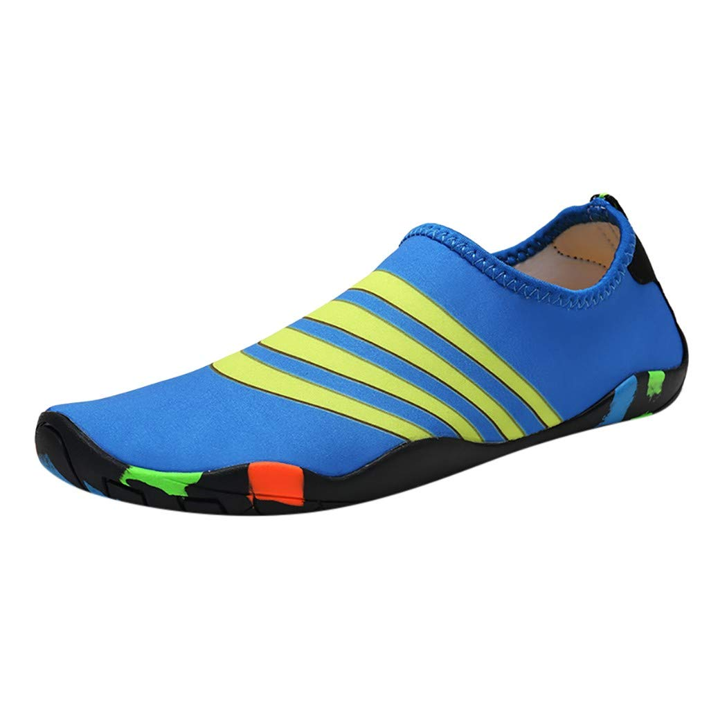 NUWFOR Couple Beach Shoes Swimming Shoes Water Shoes Barefoot Quick Dry Aqua Shoes(Blue,11.5 M US Length:10.8'')