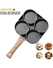 MIUGO Egg pan, Aluminum 4-Cup Egg Frying Pan, Non Stick Egg Poacher Pan for frying eggs,burgers and bacon