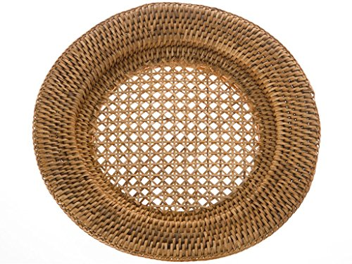 KOUBOO Round Rattan Charger Plate, Honey Brown (Pack of2) (Rattan Plate)