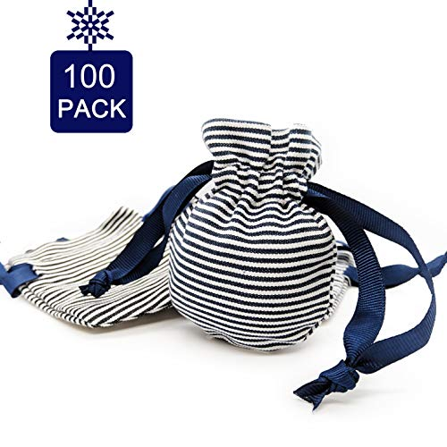 (Astropic 100Pcs Navy Blue and White Striped Drawstring Gift Bags Favor Sachet Candy Wrap Bags for Preppy Wedding Nautical Baby Shower Birthdays Boutique Gifts Jewelry Pouches 3