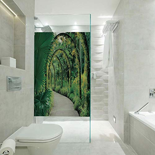 (RWNFA 3D No Glue Static Decoration Window Film Glass Sticker,Scenic Artificial Arcs with Many Orchids in Botanical Garden Tropical Pants Park,Customizable Size,Suitable for Bathroom,Door,Glass etc,)