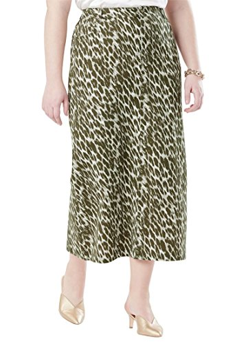 Jessica London Women's Plus Size Classic Cotton Denim Long Skirt - Olive Dusk Animal, 26