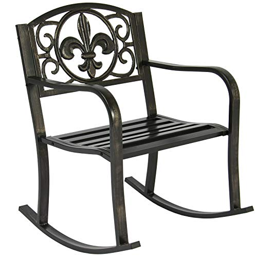 Scroll Iron Wrought Rocker - AK Energy Outdoor Wrought Iron Metal Rocking Armrest Chair Garden Deck Patio Outdoor Furniture Bronze Color