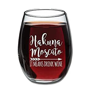 Hakuna Moscato It Means Drink Wine Funny Stemless Wine Glass 15oz - Unique Christmas Gift Idea for Her, Mom, Wife, Girlfriend, Sister, Grandmother, Aunt - Perfect Birthday Gifts for Women