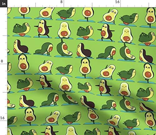 Spoonflower Yoga Fabric - Yoga Kawaii Food Green Funny Novelty Yoga Gym Om Fitness Workout Avocado by Huebucket Printed on Petal Signature Cotton Fabric by The Yard
