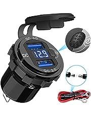 Quick Charge 3.0 autolader, 12V USB lader socket adapter stopcontact, met LED digitale voltmeter en schakelaar, geschikt voor schepen, boten, motorfietsen, vrachtwagens, golfkarretjes, etc