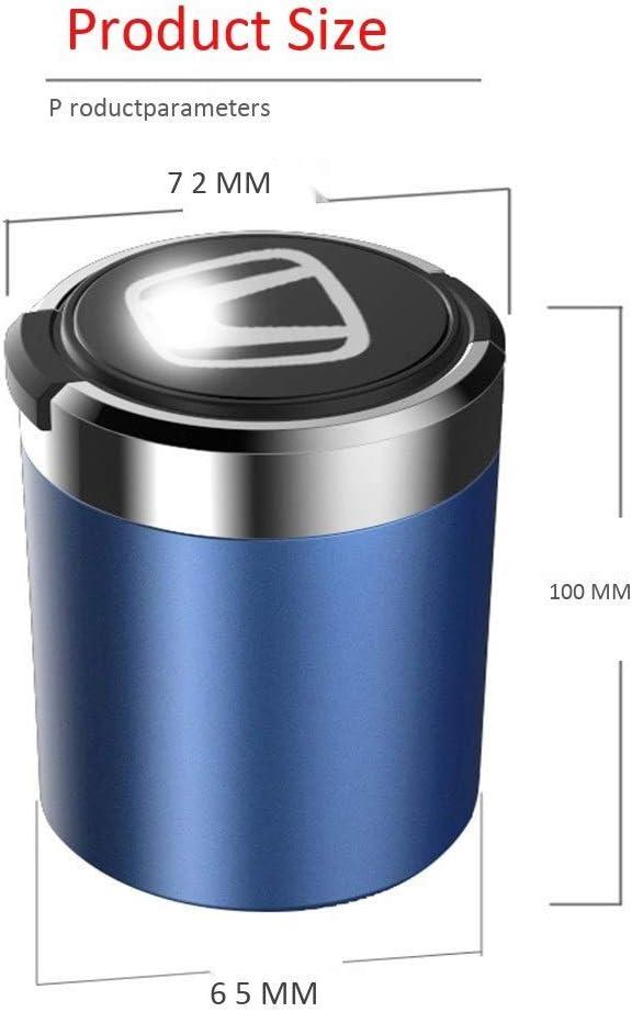 Color : A Or Bleu Cendrier De Voiture Indicateur /À LED Bleu Avec Couvercle Bo/îte De Rangement Int/érieur De Voiture Noir Rouge Compatible Avec Honda