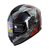"IV2 Falcon 967 - ""THE MECH"" Mercenary Mech High Performance Dual Visor, Full Face Street Motorcycle Helmet with Retractable Sun Shield - Original Design Series [DOT] (X-LARGE) by IV2 Helmets"