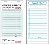 Alliance Guest Checks 3-3/8'' x 6-3/4'' 1Pt Bond Green 16Lines 50 Checks per Book 50 Books per Carton, 2,500 Checks Total
