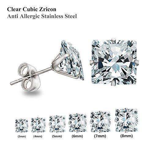 Luxusteel® Cubic Zircon Diamond Stainless Steel Stud Earring Set 3-8mm 6 Pairs Per Set , Round Cut Silver Color...