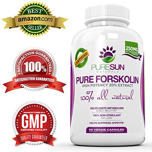 Pure Sun Naturals Pure and Potent Forskolin Weight Loss Supplement, Fat Burner 20 Percent Coleus Forskohlii Standardized, 90 Capsules