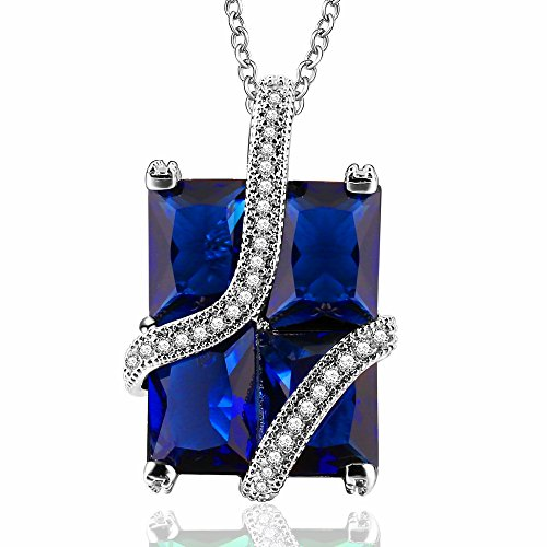 (PAKULA Silver Plated Simulated Blue Sapphire Pendant Necklace with 18