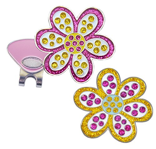 Navika Oopsy Daisy Purple and Oopsy Daisy Yellow Glitzy Ball Marker Combo with ONE Magnetic Hat - Clip Hat Marker Flowers Ball