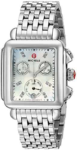 MICHELE Women's MWW06P000014 Deco Analog Display Swiss Quartz Silver Watch