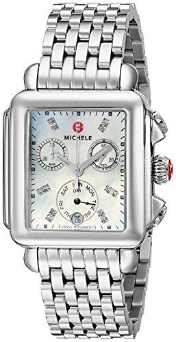 MICHELE Women's MWW06P000014 Deco Analog Display Swiss Quartz Silver Watch by MICHELE