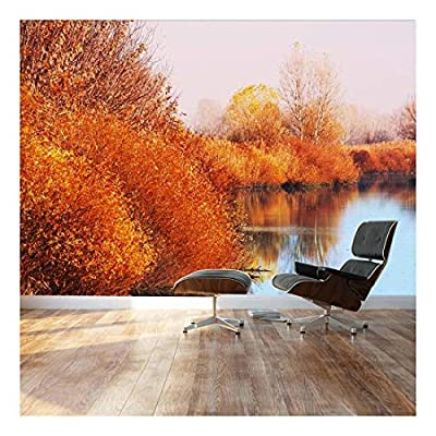 Fascinating Handicraft, Autumn Lake Scene Orange Calm Peaceful Landscape Wall Mural, Crafted to Perfection