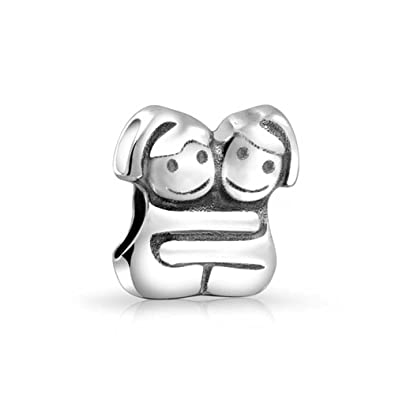 860ae425b Bling Jewelry 925 Silver Hugging Sisters Twin Girl Bead Charm: Amazon.co.uk:  Jewellery