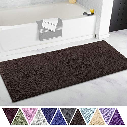 ITSOFT Non Slip Shaggy Chenille Soft Microfibers Bathroom Rug with Water Absorbent, Machine Washable, 21 x 47 Inches Chocolate Brown