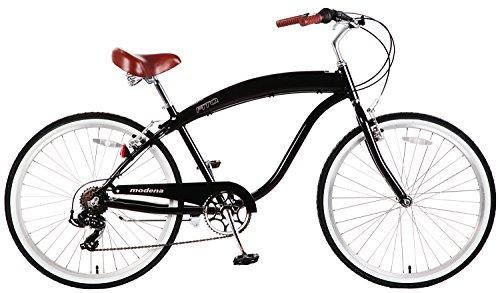 Fito Men's Modena 2.0 Aluminum Alloy 7 Speed Beach Cruiser Bike, Black, 18