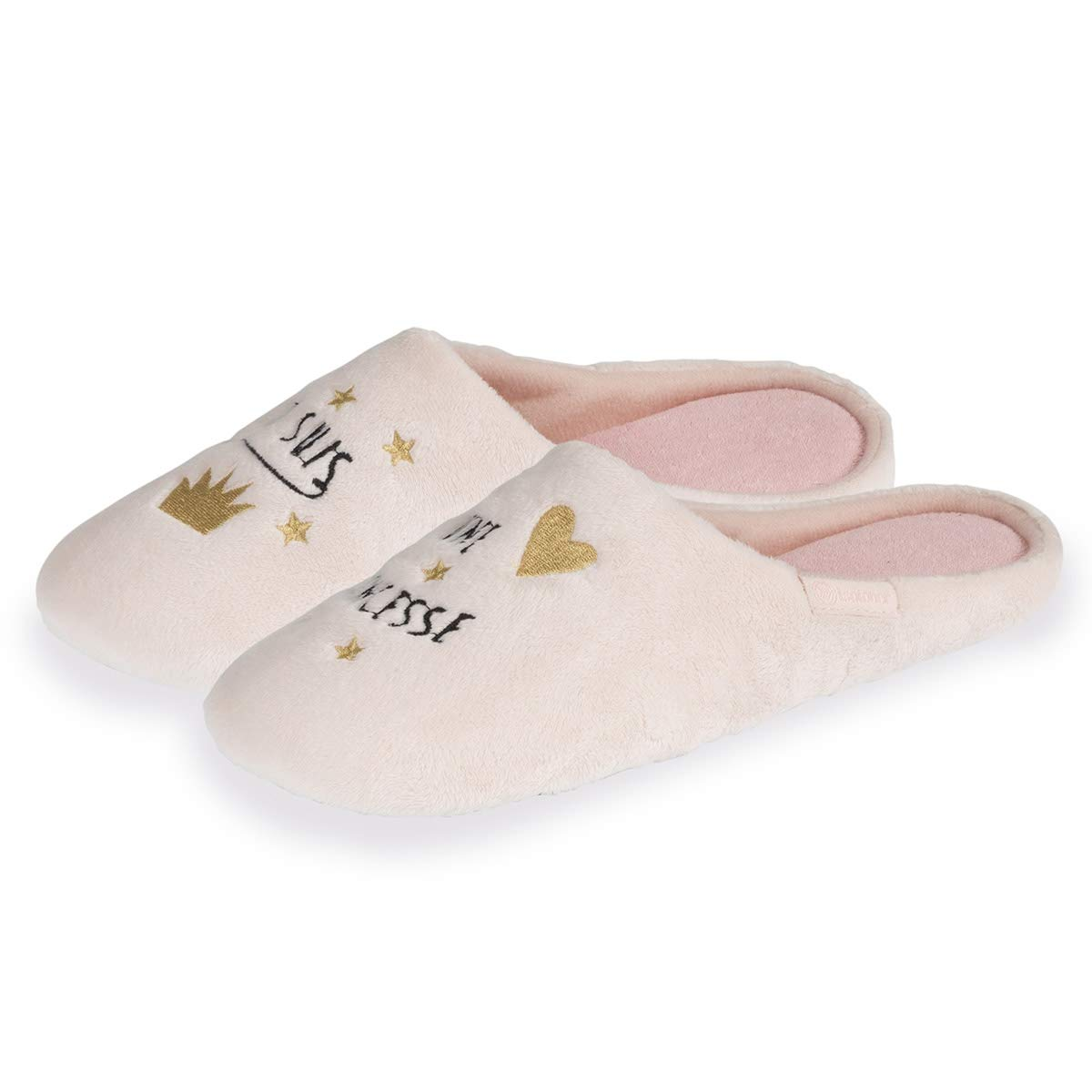 Isotoner Chaussons Mules Femme Broderie Princesse