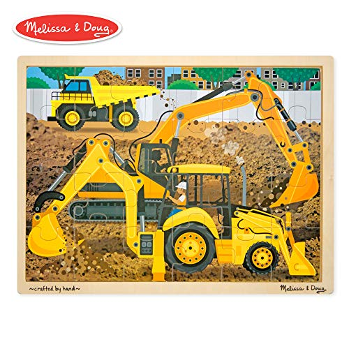 Melissa & Doug Construction Vehicles Wooden Jigsaw Puzzle With Storage Tray (24 pcs)