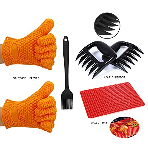 V.one Barbecue Tools Set, BBQ Grill Tools Set, Grilling Accessories with Silicone BBQ/Cooking Gloves, Meat Claws, Grill Mat, Silicone Basting Heat Resistant Kitchen Brush (4 pc set) by V.one