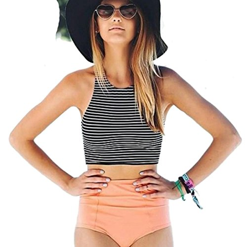 one_day Bikini 2018 Swimsuit Women Summer Stripe High Waist Bikini Spa Two Pieces Bathing Suit Swimwear