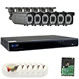 GW Security 1080P HD-CVI 8 Channel Video Security Camera System – Six 2MP Weatherproof 2.8-12mm Varifocal Zoom Bullet Cameras, 196ft Night Vision, Long Transmit Range (984ft), Pre-Installed 2TB HDD