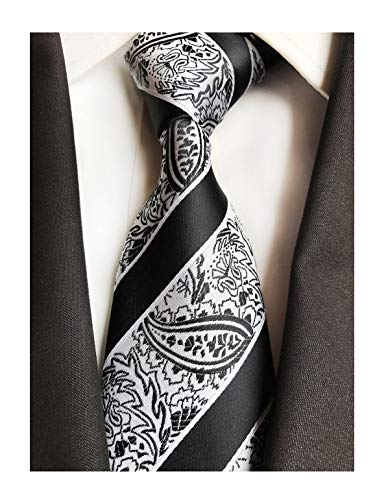 Men Black and White Silk Cravat Tie Jacquard Woven Wedding Holiday Prom Neckwear