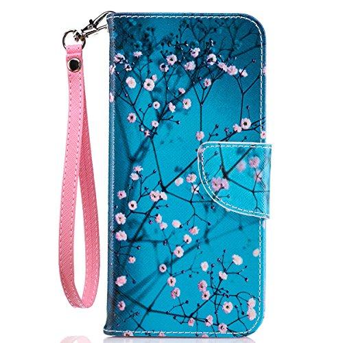 S8 Wallet Case, Galaxy S8 Case, Samsung S8 Case, JanCalm [Wrist Strap] [Kickstand] [Card/Cash Slots] Pattern Premium PU Leather Wallet Cell Phone Cases Flip Cover + Crystal pen (Plum blossom)